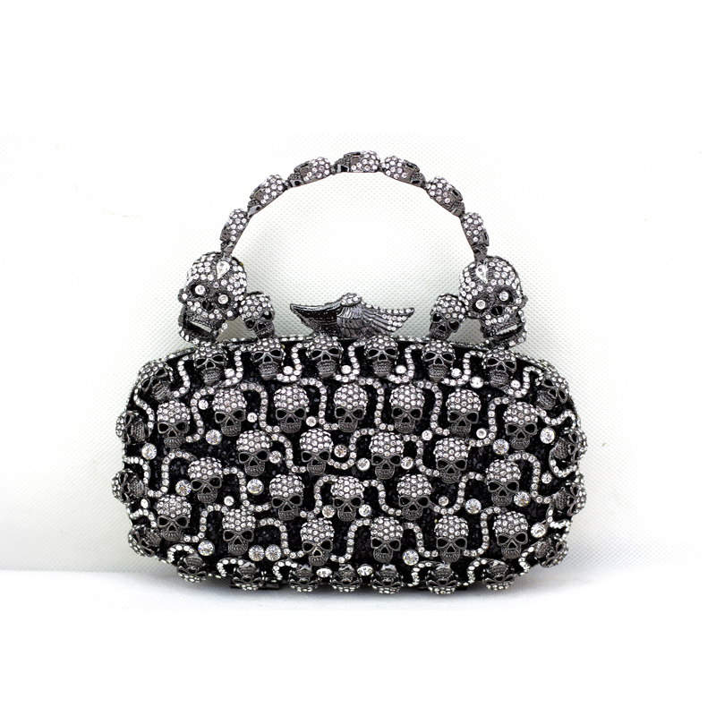 2016 Fashion Bags Black Silver Skull Crystal Clutch for Women Cheap Designer Handbags Quality Brand Evening Clutch with Handle(China (Mainland))