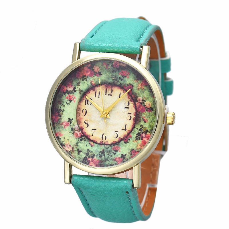 2016 Best Selling, High Quality Women Watch Floral Printed Relogio Leather Quartz Dial Wrist Watch Casual Beauty Dress Reloj<br><br>Aliexpress