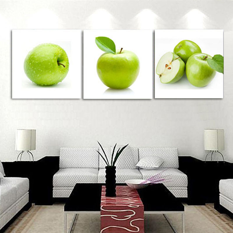 Unframed 3pcs green apple modern kitchen home decoration for Apple home decoration