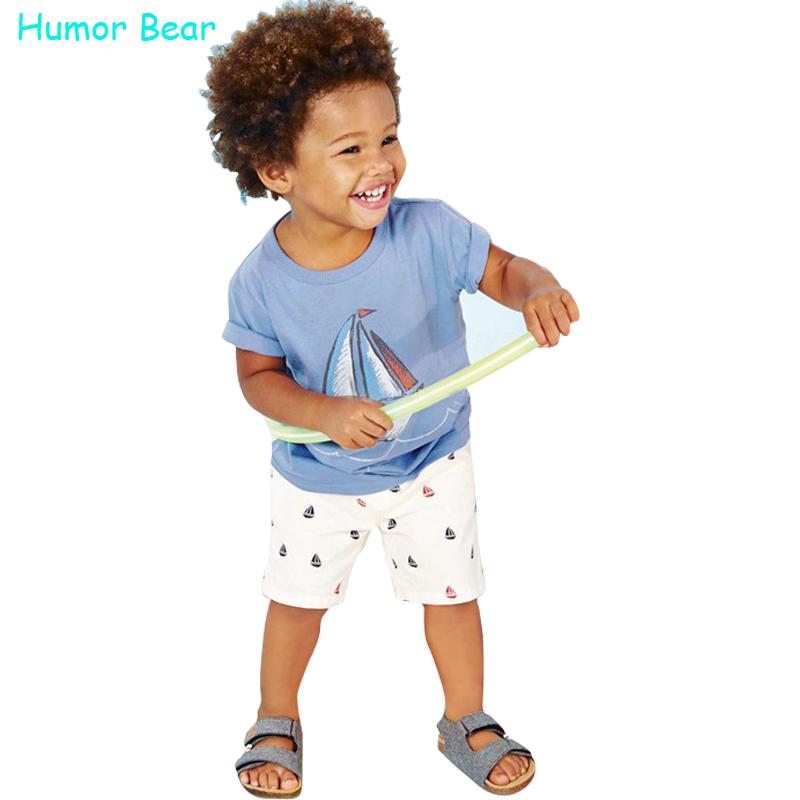 Humor Bear baby boys clothes set boys Cartoon T shirt
