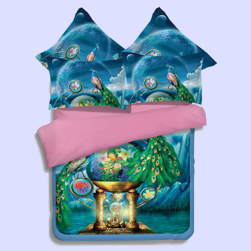 textile peacock four pieces of 3D bed sheet bedding special set of 4 pieces of 4 sets of factory direct wholesale(China (Mainland))