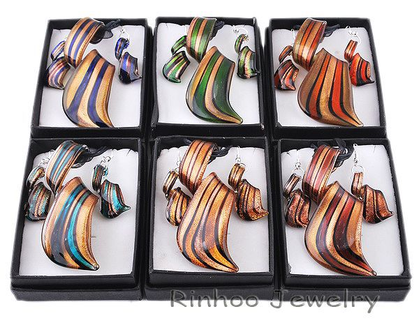 6pcs/set twist gold dust lampwork murano pendant necklaces glass necklace earrings jewelry sets women - Rinhoo Jewelry store