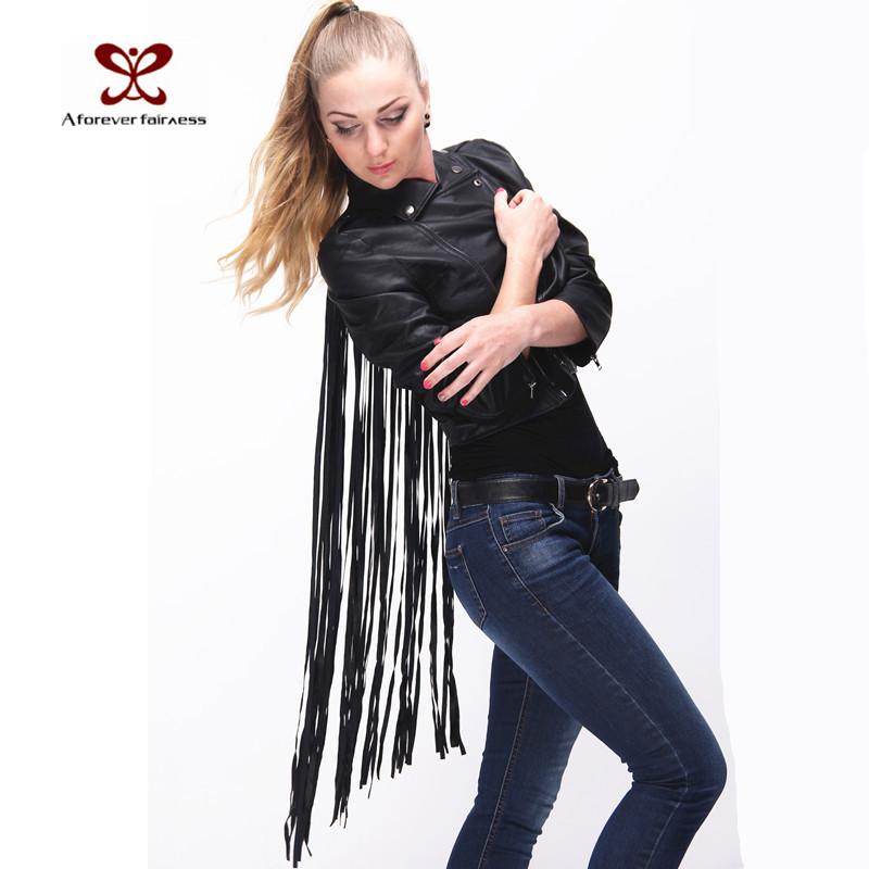 Women Leather Jacket Tassels Jacket Small Lapel Back Tassel Irregular Fringed Cardigan Short Jacket Casual Faux Suede Outwear(China (Mainland))