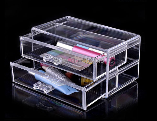 free shipping 18 5 10 9 cm clear plastic drawer cosmetics display storage box wholesale. Black Bedroom Furniture Sets. Home Design Ideas