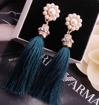 2016 мода перлы цветка престижный каменный кристалл кисточкой длинные серьги для женщин B14 Q1484