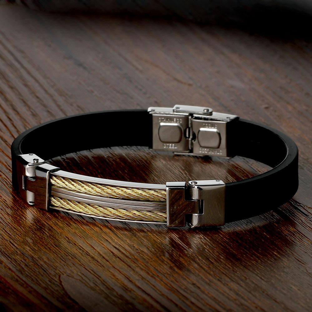 New Fashion Men Bracelet Leather Charm Gold Plated Bracelet Black Silicone Sports Wristband Bracelets For Men Jewelry BA101396(China (Mainland))