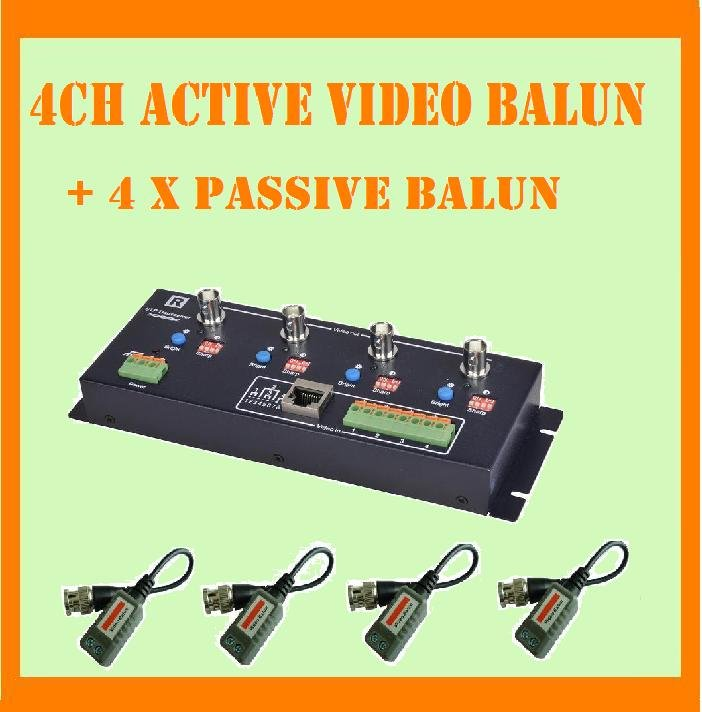 Free shiping New 4CH / 4 channels Active Video Balun Transmit Distance:1800M and mini Video Balun x 4pcs(China (Mainland))