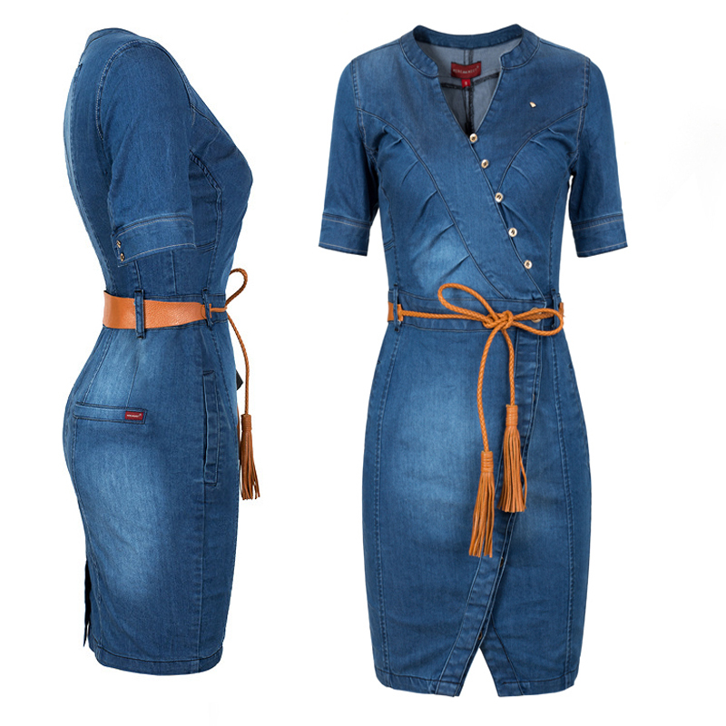 Simple Womens Light Wash Blue Denim Sleeveless Tie Waist Long Shirt Dress