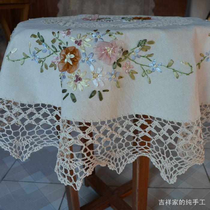 Free shipping tablecltoh round table cover ribbon embroidered round american vintage home decoration rustic table overlay(China (Mainland))