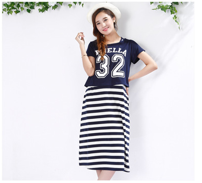 Retail 2PC Maternity Clothes Summer Dress For Pregnant Women Casual Cotton Maternity Dresses 2016 Fashionable Maternity Clothes(China (Mainland))