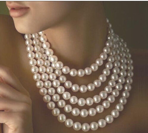 100 inch AAA 8-9MM genuine south sea white pearl knot necklace +Silver clasp<br><br>Aliexpress