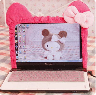 Cute Hello Kitty Cartoon Elastic Laptop Screen Dust Proof Cover LED Computer Cover Set Anti-Dust Protective Case.Home Decoration(China (Mainland))