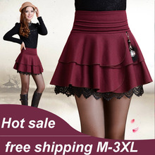 Vintage high waist woolen short skirt Nice women's fashion casual autumn winter pleated blalck/red sexy lace short skirts S1882