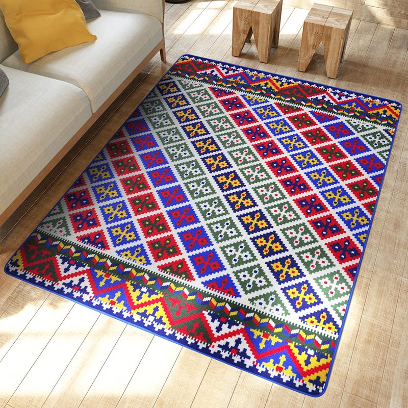 Turkish Style Decorative Floral Arts Plaid Carpet And Rugs Bedroom Living Room Floor Mats Parlor Doormats Slip Resistant(China (Mainland))
