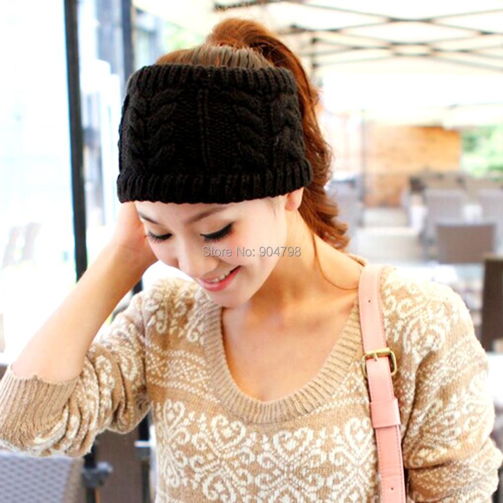 Fashion Korean Winter Warm Women Braided Knit Hat Cap Headband Hair Bands(China (Mainland))