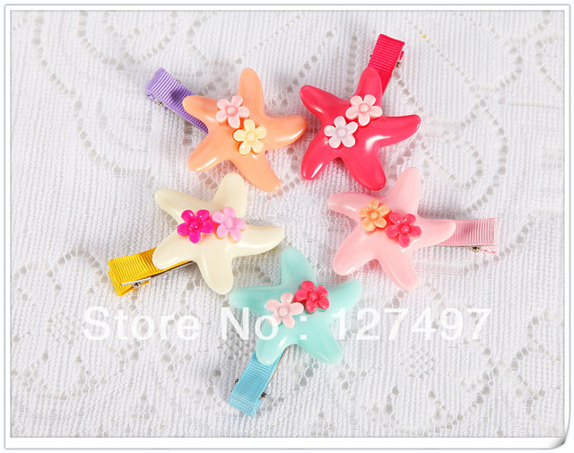 Free shipping New Large Acrylic starfish Hairclips cute baby Hairpins / Hair Accessories  Wholesale