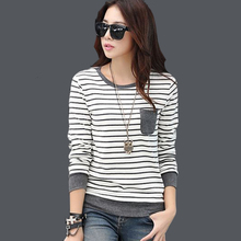 tee shirt femme winter long sleeve tshirt women t shirt womens tops fashion 2016 poleras de mujer stripe t-shirt camisetas mujer(China (Mainland))