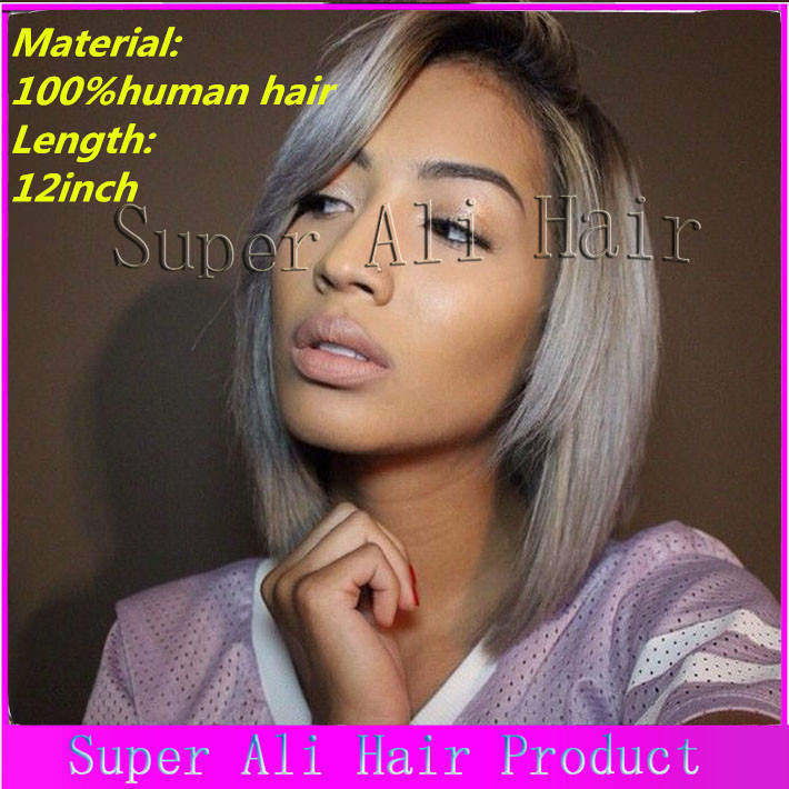 2015 Short Ombre Brazilian Wigs Sliver grey hair Full lace human gray hair wigs Short Bob Gray Human wig With Bangs Natural Hair<br><br>Aliexpress