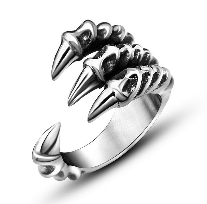 2015 New US Size 7-12 Punk Rock Stainless Steel Mens Biker Rings Vintage Gothic Jewelry Silver Color Dragon Claw Ring Men(China (Mainland))