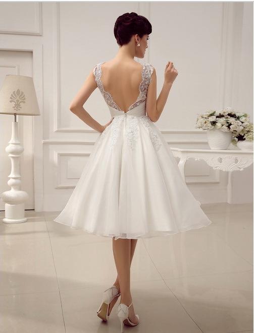 Robe De Mariage Luxurious Elegant Satin and Lace Wedding Dress Tea Length Wedding Reception Dresses Vestido