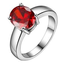 Buy big red zircon bling Silver plated ring, silver fashion jewelry ring Women&Men, /STNITRWQ WQMAMOMX for $1.35 in AliExpress store