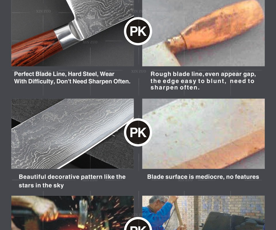 "Buy 8"" inch chef knife Japanese VG-10&73 layers Damascus steel kitchen knife prefessional cook knife Color wood handle free shipping cheap"