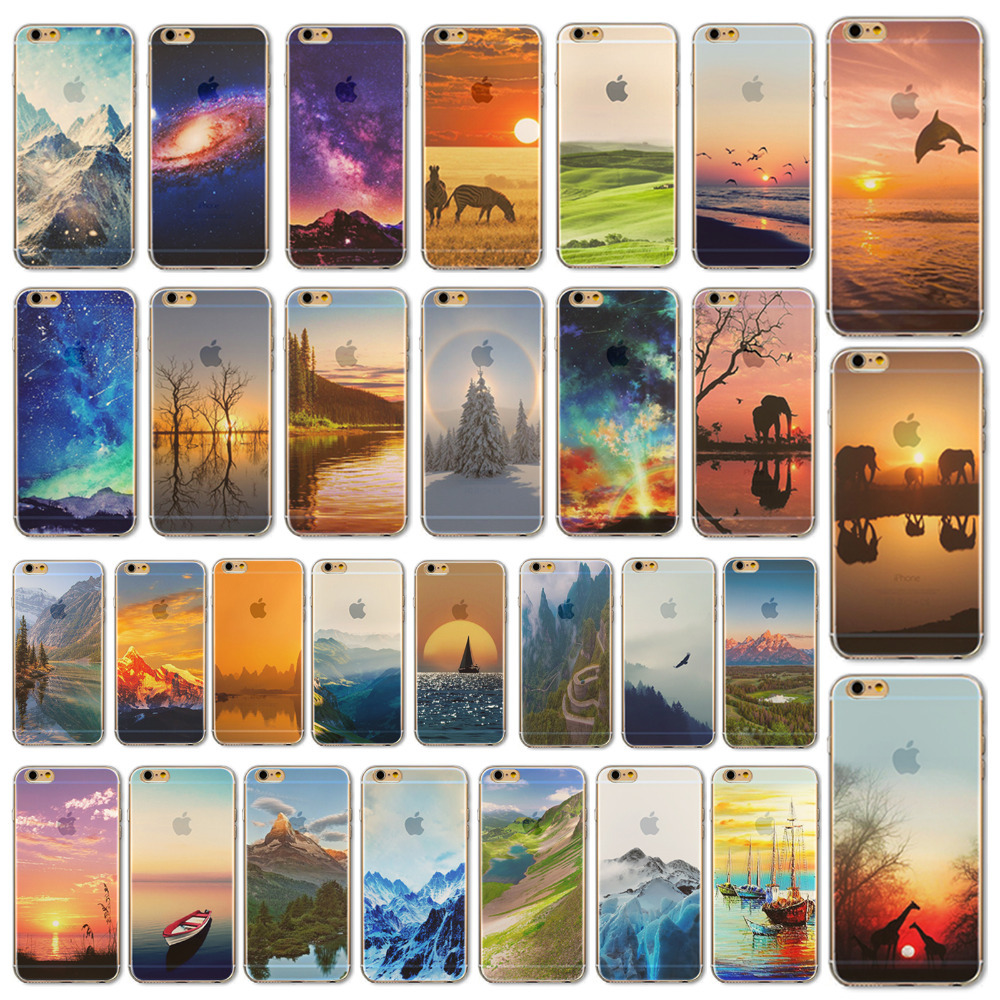 """Sunset Seagull Fly Painted Soft TPU Phone Back Case Apple iPhone 6 Plus """"5.5 inchinch Mobile Skin Cases Cover WHD1441 - yuan xuan store"""