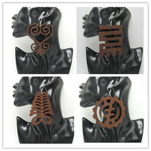 5pairs/lot 8cm Big Size Adinkra Symbol Wood Earrings can mixed 4 designs(China (Mainland))