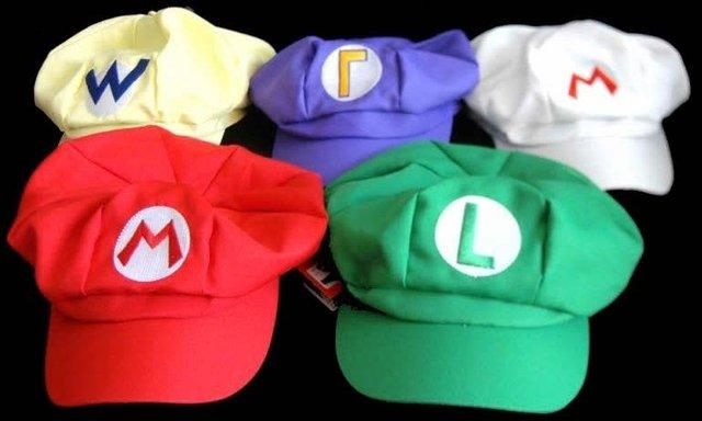 Super Mario Bros Anime Cosplay Hat,red and white Mario,green Luigi ,yellow Wario,Purple Waluigi Cap,free shipping