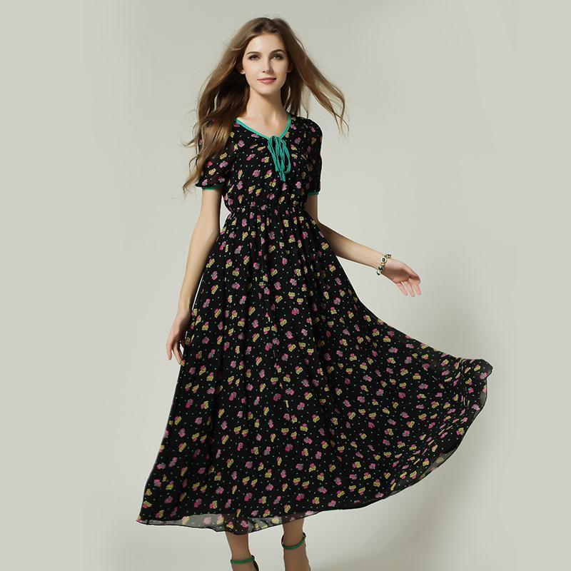 Short sleeve long summer dresses