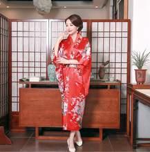 أسود الأزياء الوطنية اتجاهات المرأة مثير كيمونو يوكاتا مع أوبي الجدة مساء اللباس اليابانية تأثيري زي الزهور واحد حجم(China)