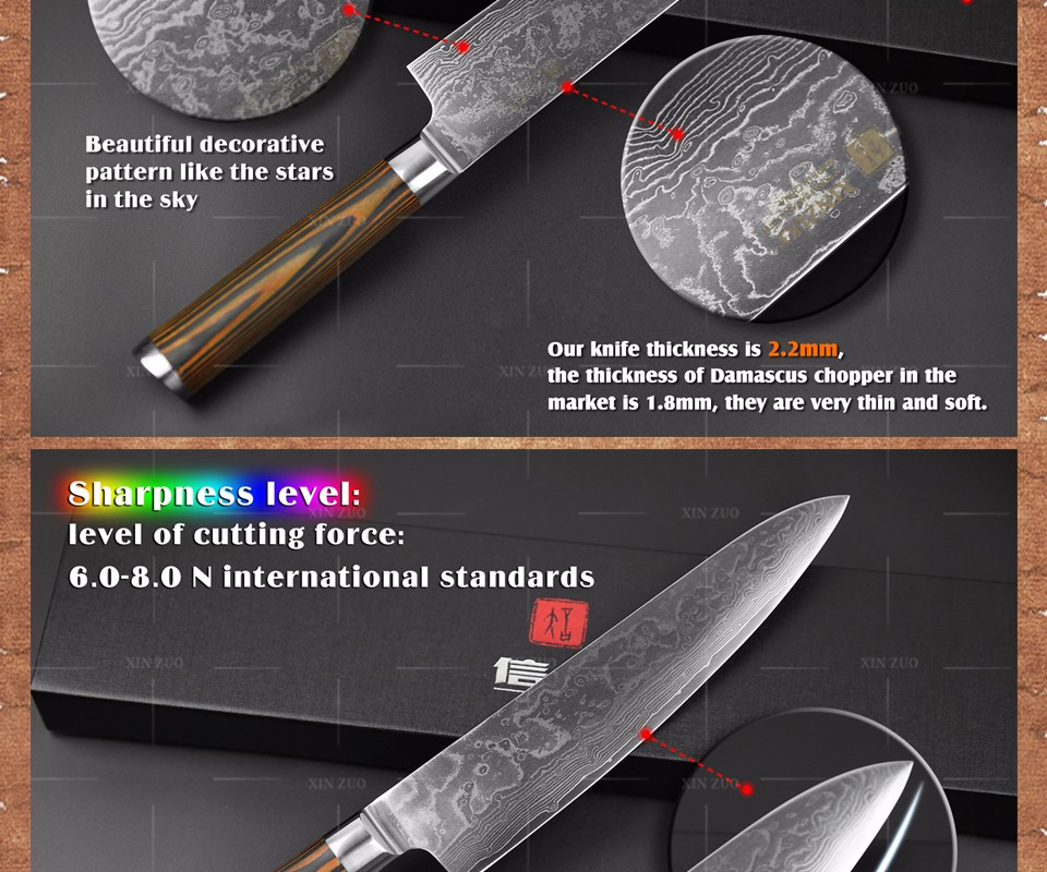 "Buy 8"" inches chef knife High quality 73 layers Japanese VG10 Damascus steel kitchen chef knife cleaver wood handle free shipping cheap"