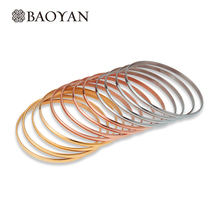 12 Piece/Set 3 Colors High Quality Stainless Steel Gold Silver Rose Gold Bangle For Women Wholesale Christmas Bracelet For Girls(China (Mainland))