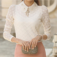 Women Lace blouses 2016 spring summer New Fashion Elegant White femininas Long Sleeve chiffon Blouse Korean Style Women Shirt(China (Mainland))