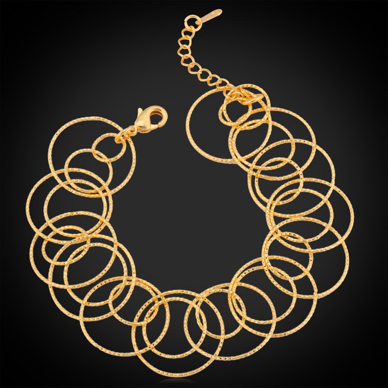 Gold Bracelet Trendy Jewelry Nice Gift 2015 New Fashion Jewelry Of Party Platinum /18K Real Gold Plated Bracelets For Women H364(China (Mainland))