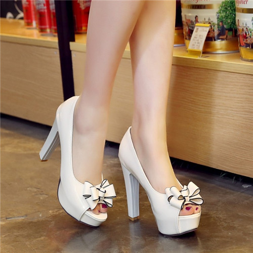 Hot Sale 2016 Summer Autumn Sexy Elegant Celebrity Open Toe Block High Heels Party Dress Bridal Shoes Women Bowtie Plus Size(China (Mainland))