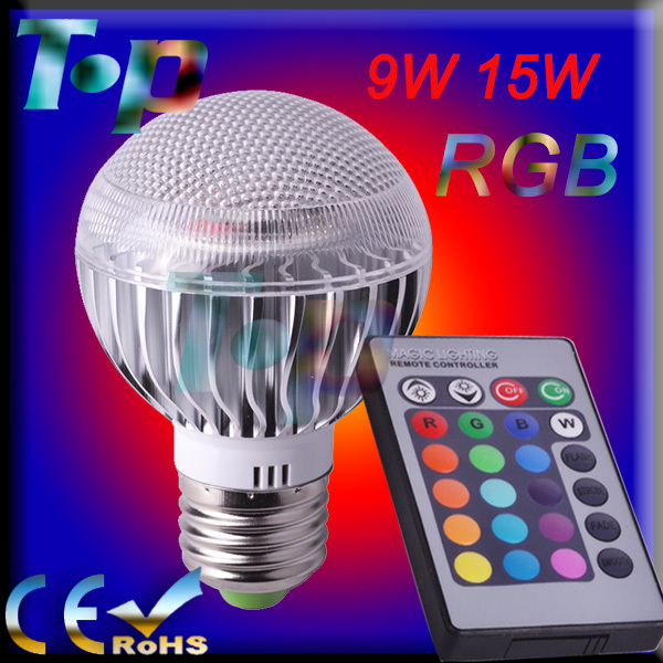 RGB LED Bulb E27 9W 15W 85-265V Free shipping 1 pcs/lot led Bulb Lamps with Remote Control multiple colour led lighting(China (Mainland))