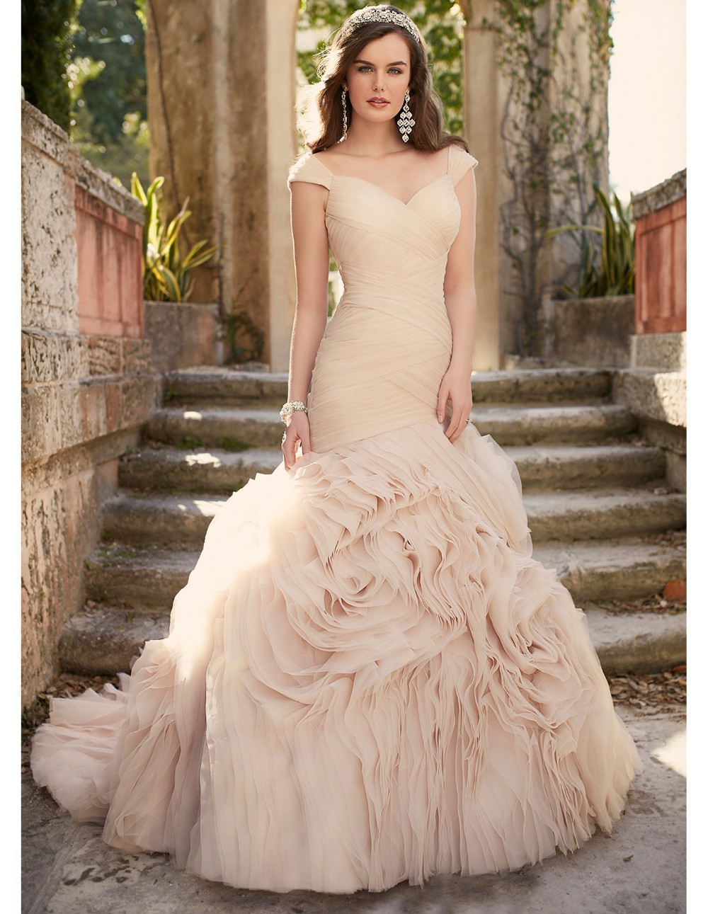 2016 sexy blush pink wedding dresses cheap formal bridal for Wedding dress pick up style