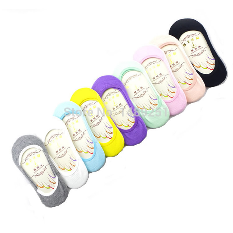 5 Pairs/ Lot Candy Color Female Summer Cotton Socks Solid Boat Socks Invisible Womens Slipper Socks High Quality Anklet Socks