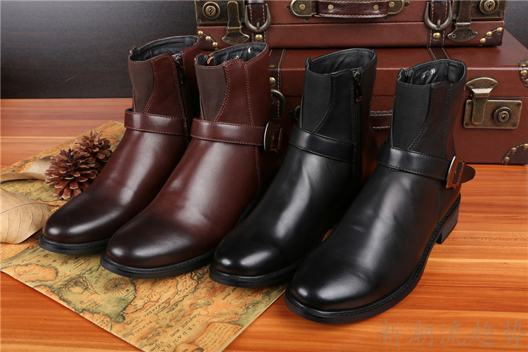 new arrival black & brown leather round toe knight cowboy boots men fashion sexy low top high heel men shoes(China (Mainland))