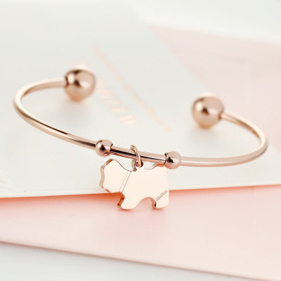 Top Quality 18KGP Gold Plated Lovely Puppy Open Bangle Fashion Lady's Rose Gold Bracelet Lover Gift Free Shipping (GB105)(China (Mainland))