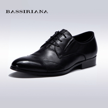 BASSIRIANA – Full Grain Leather Men's Lace-Up shoes for Men Classic Shoes Spring/Autumn Black Color 39-45SIZE Free shipping