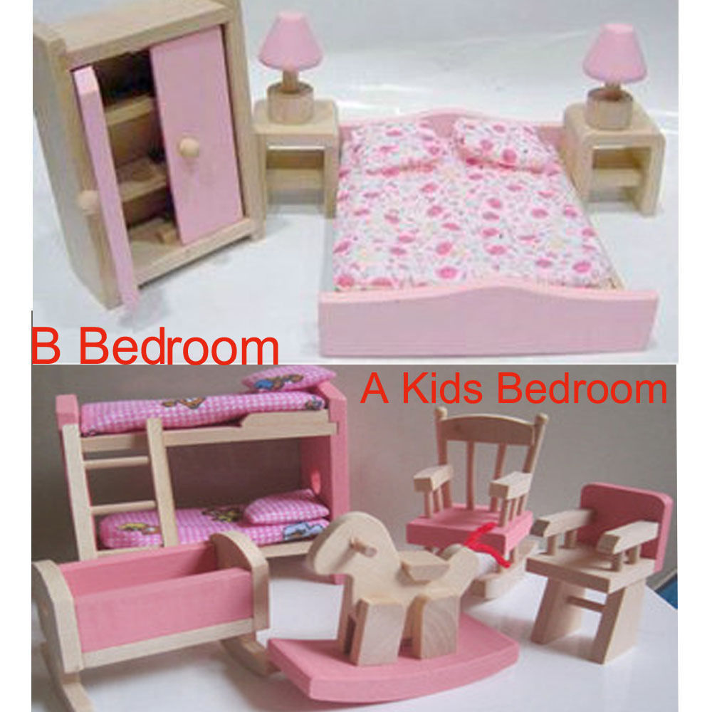 new girls wooden dolls house furniture kids bedroom pretend play toy