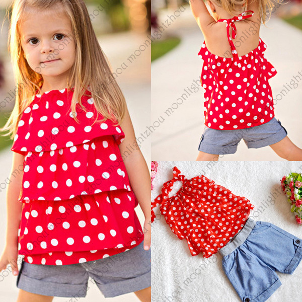 cute toddler girl clothes Baby girls sets chiffon Dot t shirt jeans denim Shorts pants vestido bebe roupa infantil para meninas(China (Mainland))