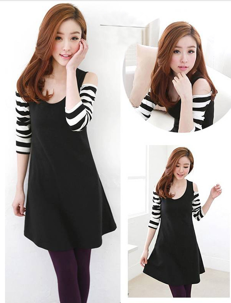 Spring 2014 New Style Striped Patchwork Dress Korean Style Casual Strapless Women Dress WCDR658(China (Mainland))