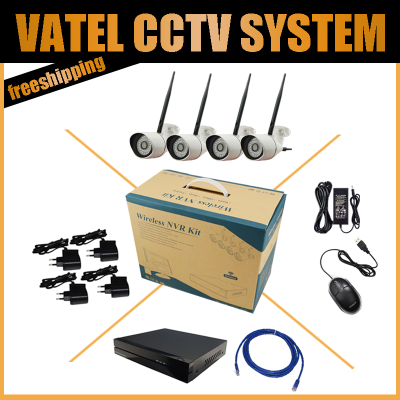 Wireless Wifi IP Camera System 4CH 960P Bullet IP Camera Kit with 4ch NVR Onvif and Private Protocol CCTV Factory direct sale(China (Mainland))