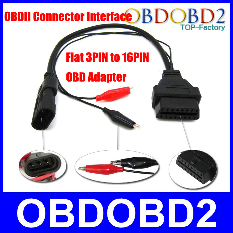 OBD2 Fiat 3Pin 16Pin Connector Alfa Lancia 3 Pin Car Diagnostic Adapter CNP - OBDOBD2 Electronic Tech Co.,Ltd store