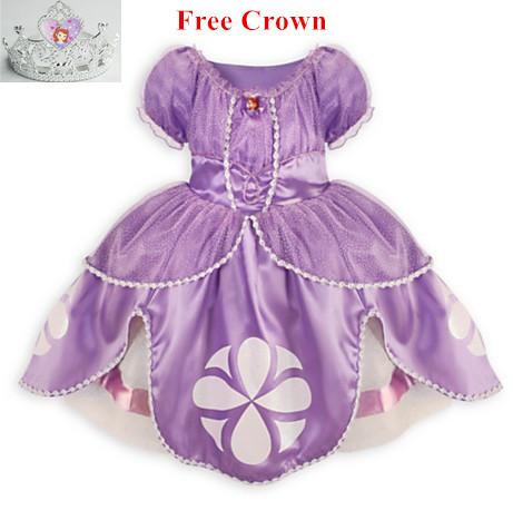 Princesa sofia traje disfarce princesa sofia vestido de princesa sofia sofia o primeiro vestido infantil meninas princesinha(China (Mainland))