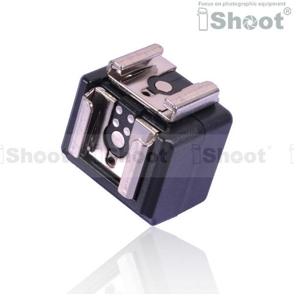 Dual Hot Shoe Mount Adapter Flash Trigger with 3.5mm SYNC Jack for Canon Nikon Pentax Olympus Metz Speedlite Speedlight(China (Mainland))