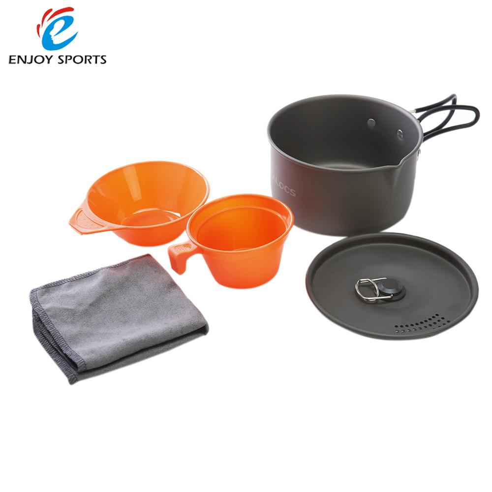 Sales Promotion 1-2 People Camping Cookware Aluminum Portable Ultralight Outdoor Camping Pot Cooking Picnic Set Cup Bowl Pot(China (Mainland))